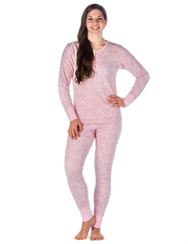 Womens Waffle Knit Thermal Sleep Set - Cute Prints