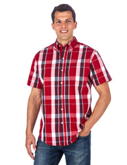 Men's 100% Cotton Casual Short Sleeve Shirt - Regular Fit