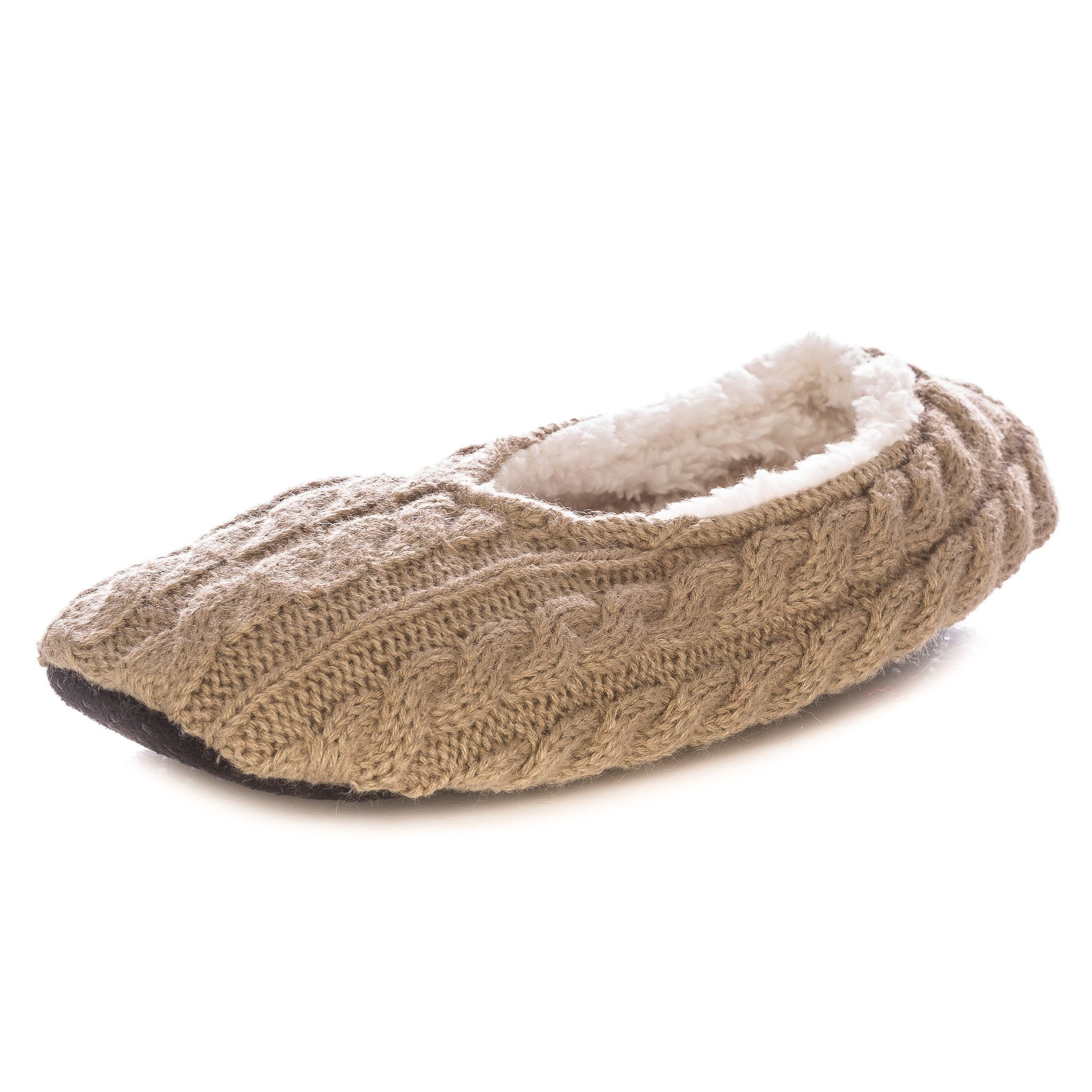 Noble Mount Womens Cable Knit Indoor Ballet Slippers