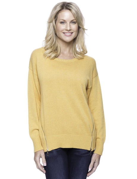 Box-Packaged Tocco Reale Women's Cashmere Blend Crew Neck Sweater with Side Zip