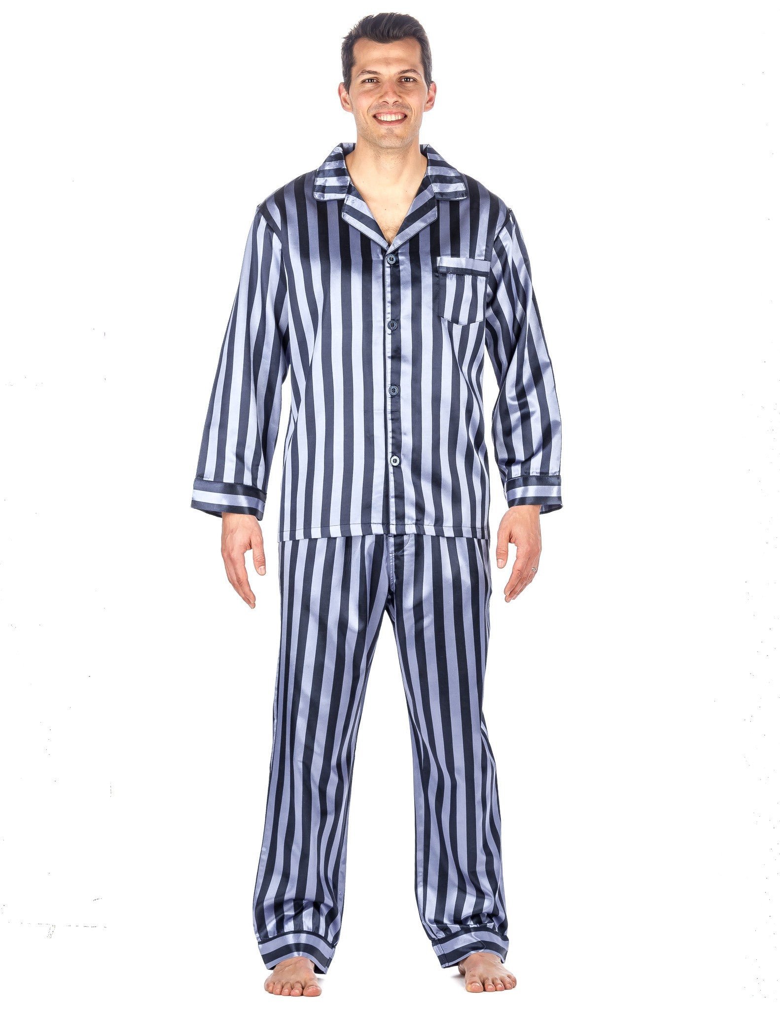 Noble Mount Men s Premium Satin Pajama Sleepwear Set 8e7e651ba
