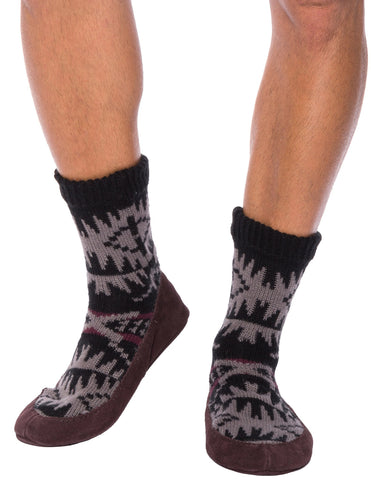 Men's Knit Moccassin Style Slipper Socks with Suede Sole