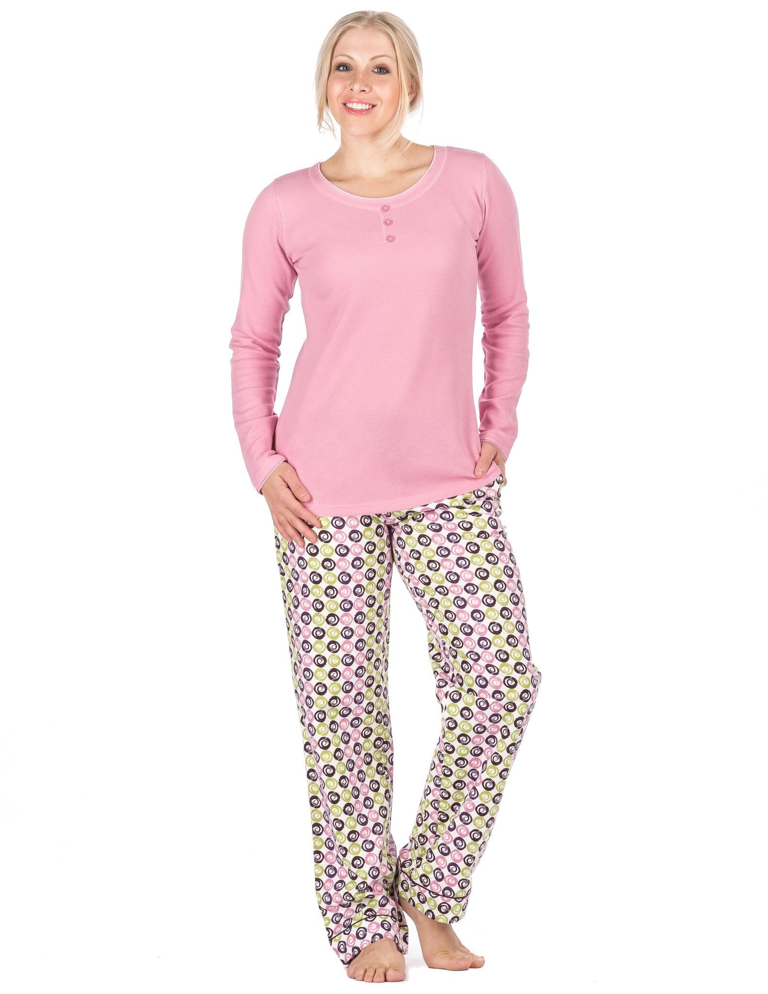 Womens Premium 100% Cotton Flannel Loungewear Set - Relaxed Fit - Swirly  Daze - Purple 2c4872f3c