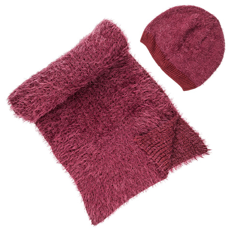 Women's Luxe Feather Winter Scarf and Hat Set