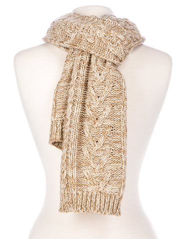 Noble Mount Mens Two-Tone Cable Knit Chillbuster Winter Scarf