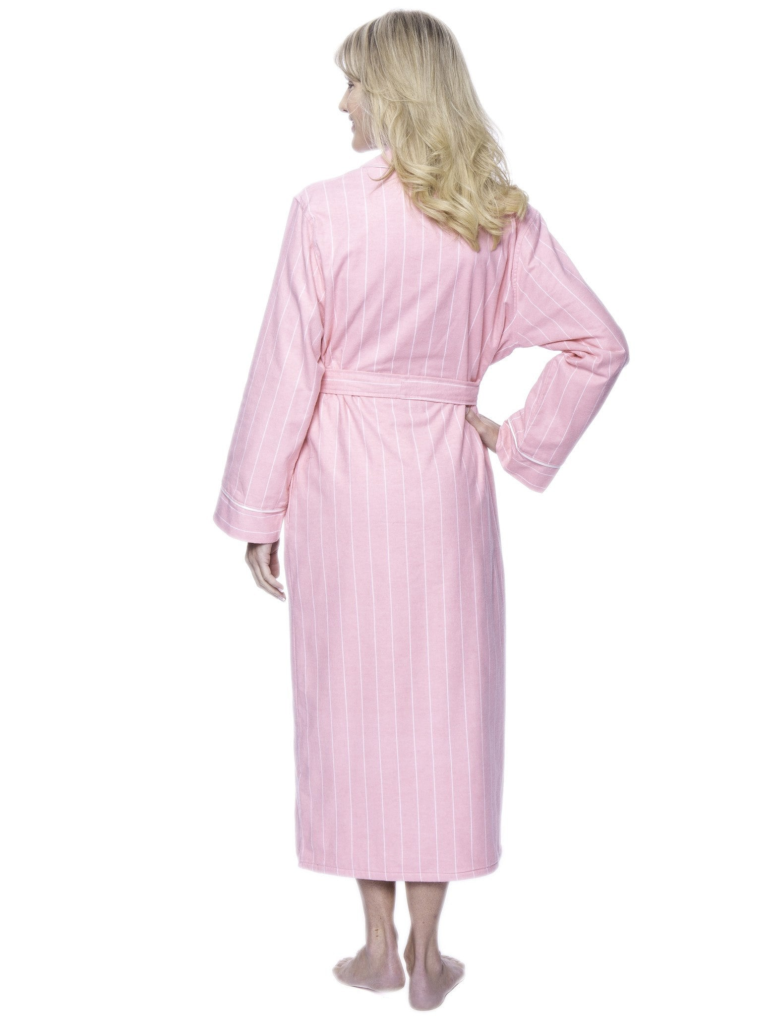 e7adcf58a5 Women s Premium Flannel Fleece Lined Robe - Stripes Pink