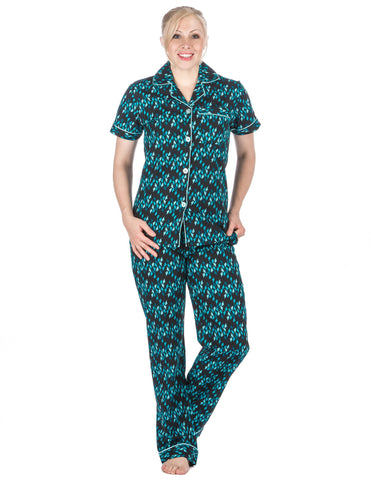 Women's Premium 100% Cotton Poplin Short Sleeve Pajama Set