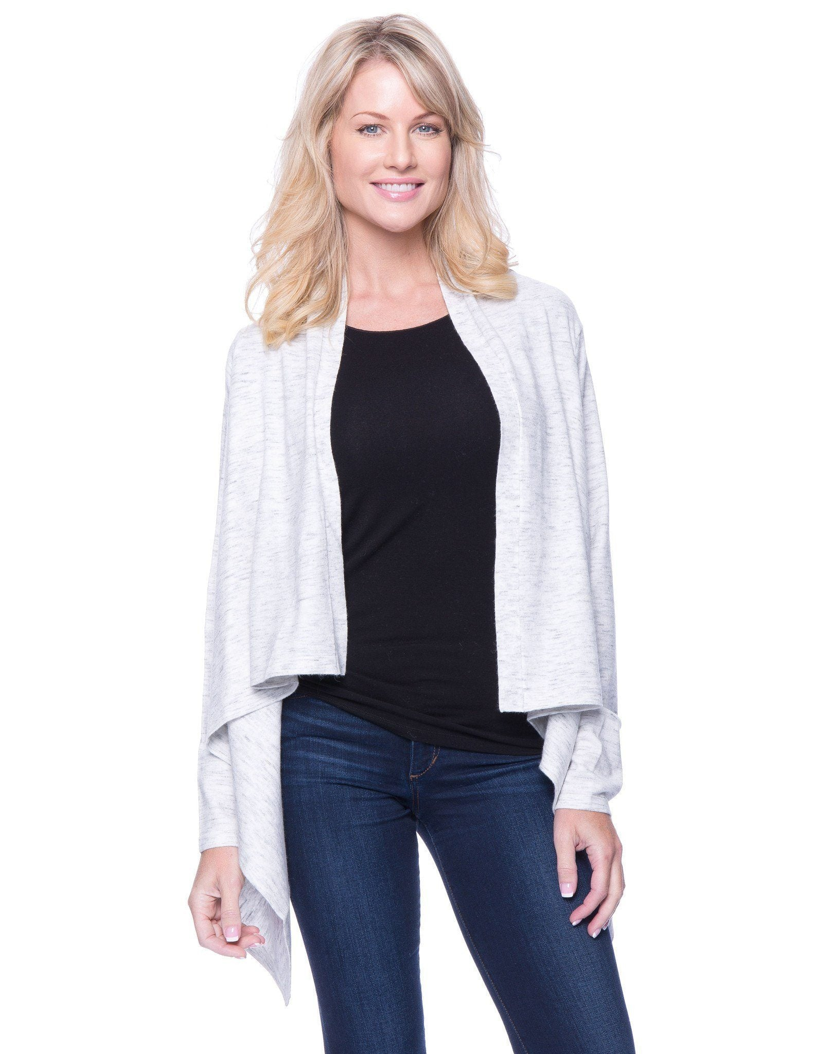 Women's Space Dyed Open Cardigan Sweater - Grey