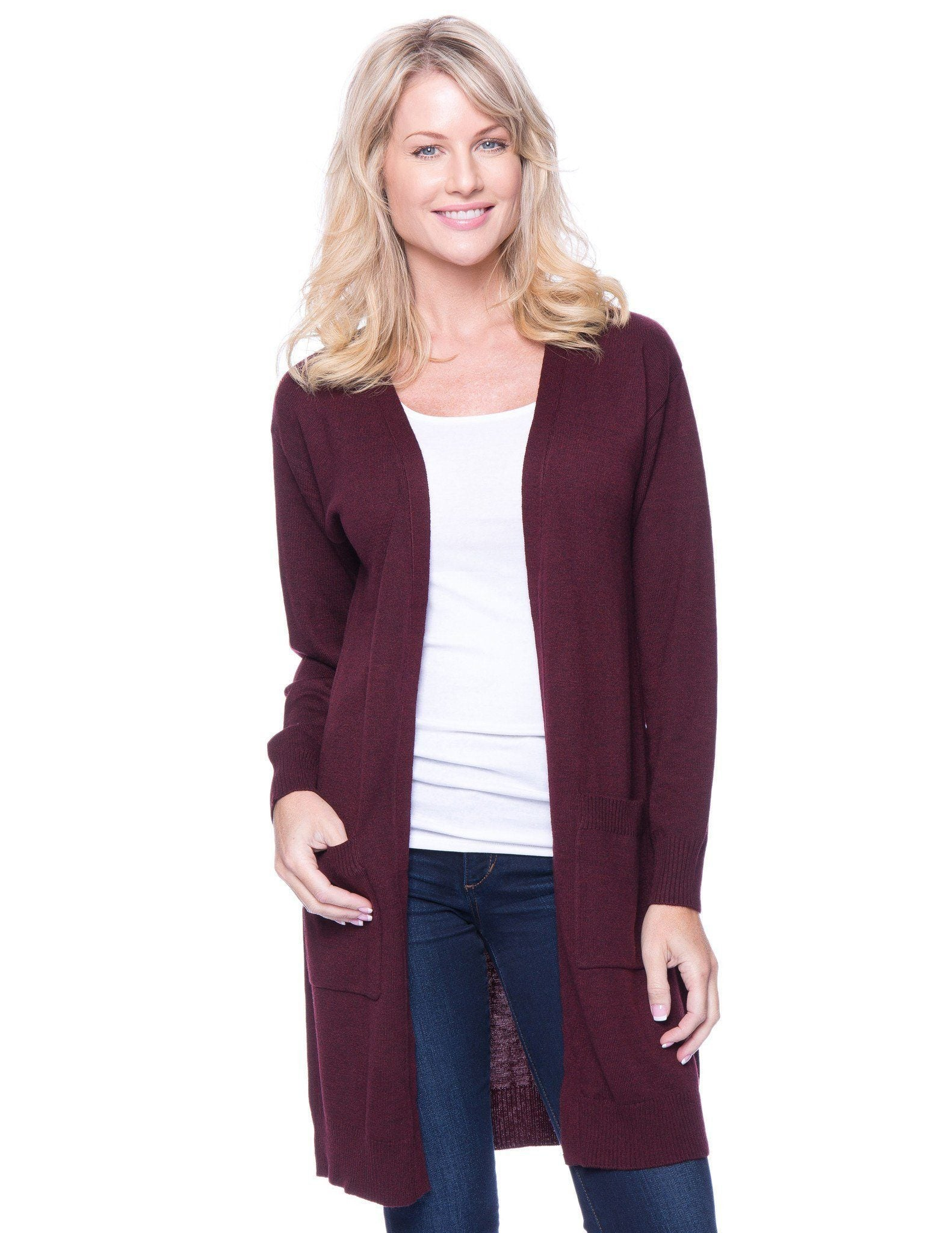 Women's Wool Blend Long Open Cardigan - Bordeaux