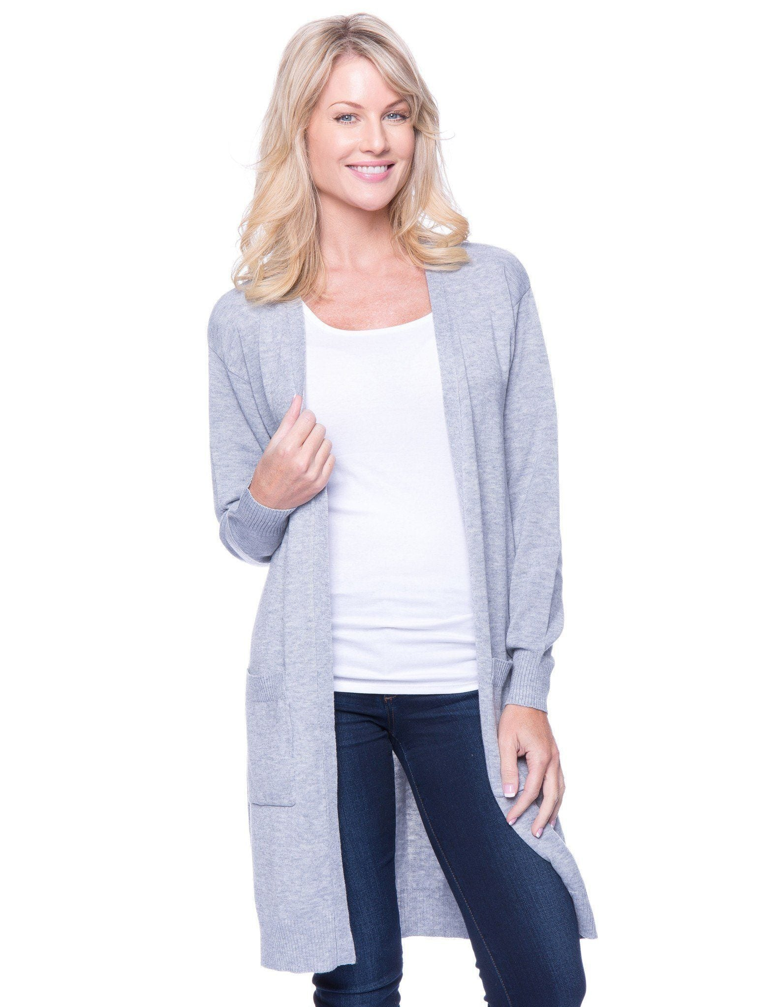 Women's Wool Blend Long Open Cardigan - Heather Grey