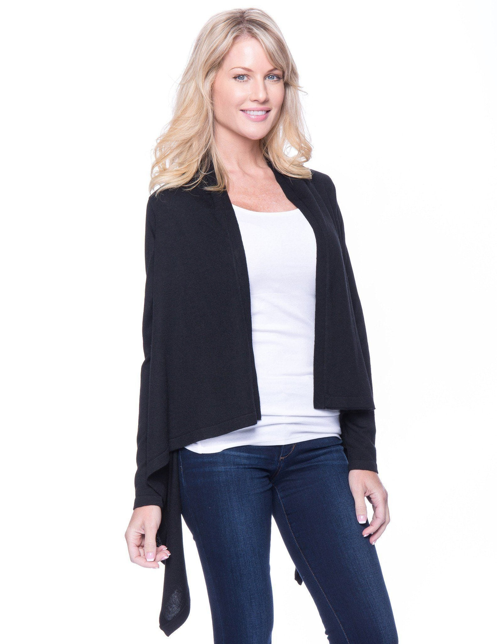 Women's Wool Blend Open Cardigan - Black