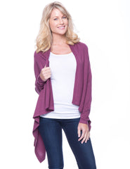 Women's Wool Blend Open Cardigan - Plum