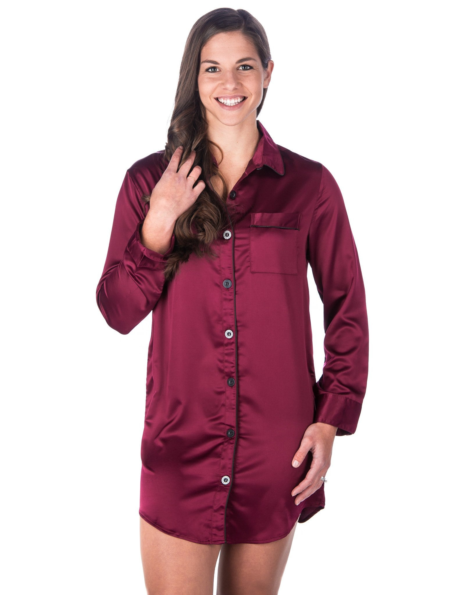 Women s Premium Satin Long Sleeve Sleep Shirt – Noble Mount cf06de6c0