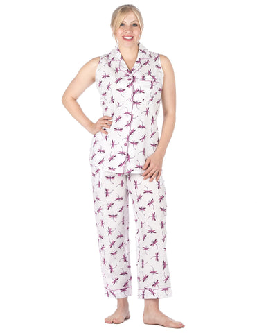 Women's Premium 100% Cotton Poplin Sleeveless Pajama Set