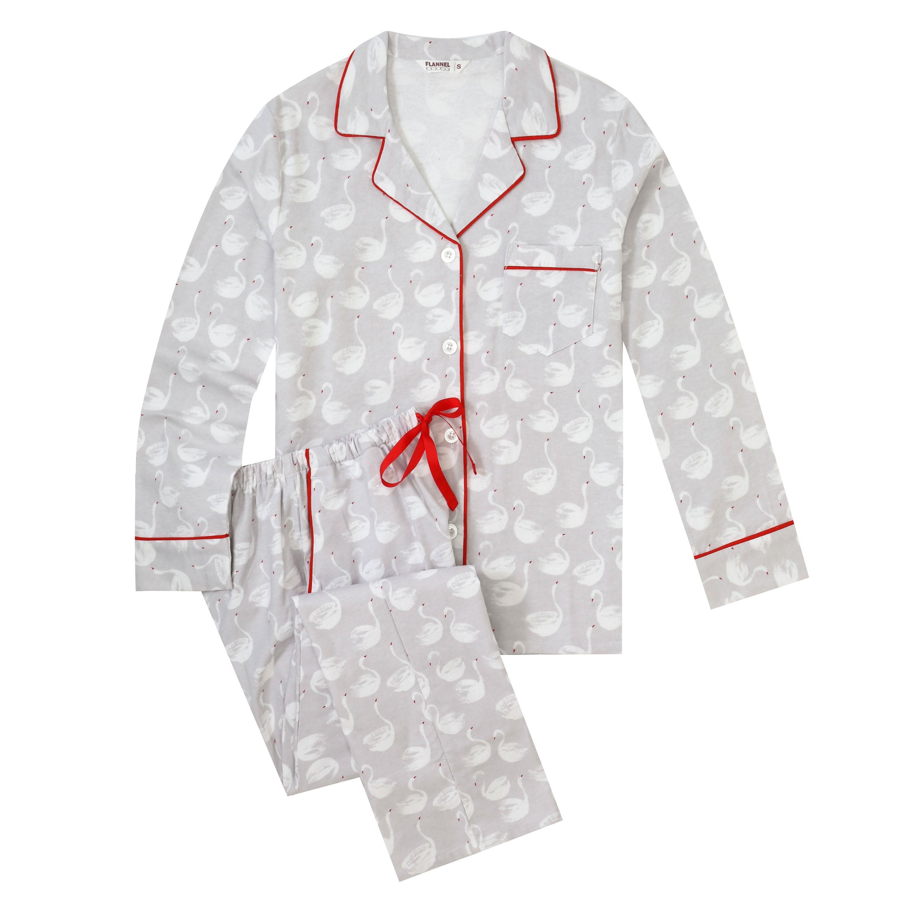 Flannel People Women Pajamas Set - 100% Cotton Flannel Pajamas Women Warm PJs Set - Swans - Gray-White