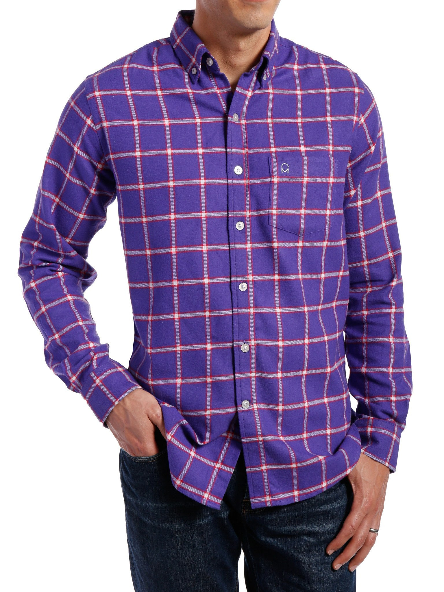 Mens 100 cotton flannel shirt regular fit noble mount for Men s regular fit shirts