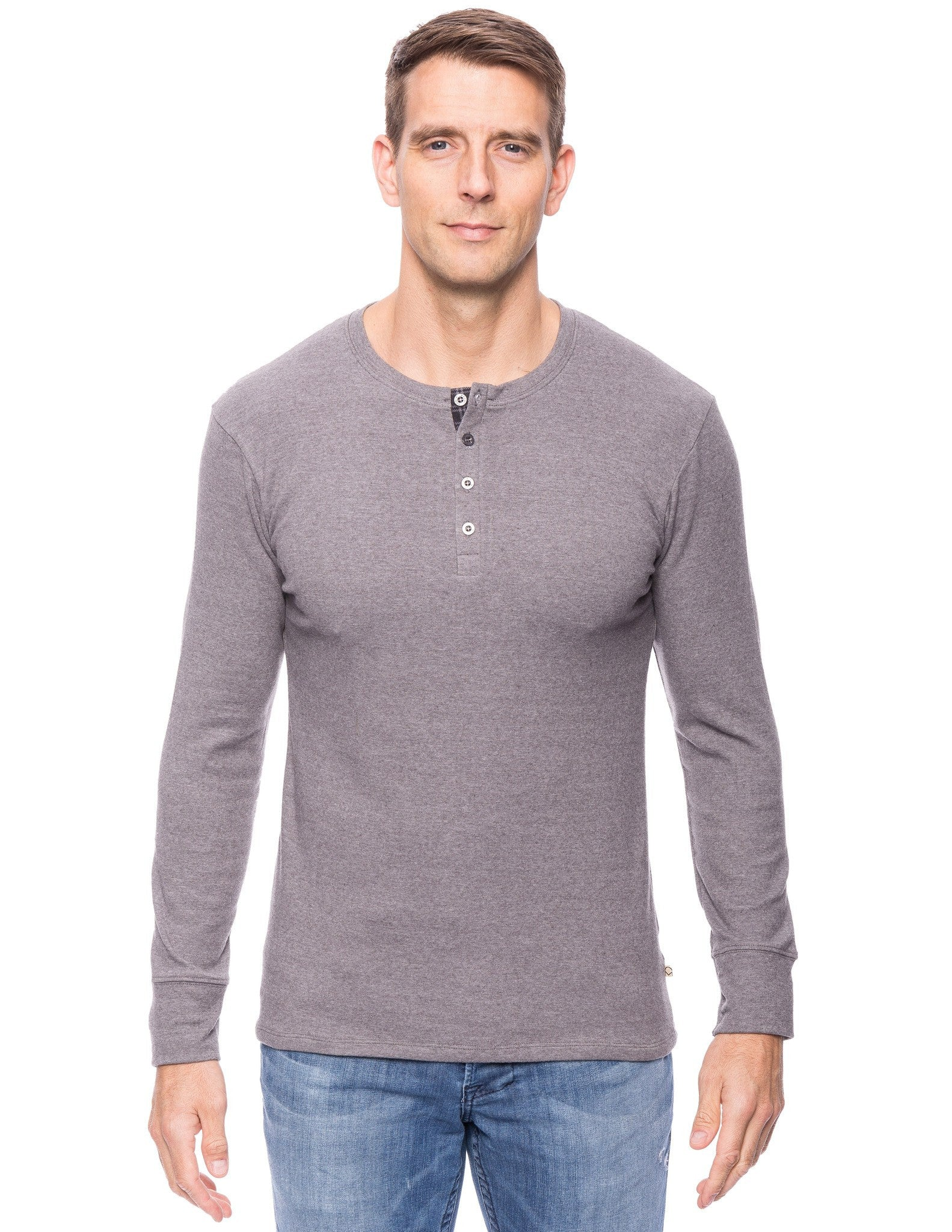 Men's Soft Brushed Rib Long Sleeve Henley Top
