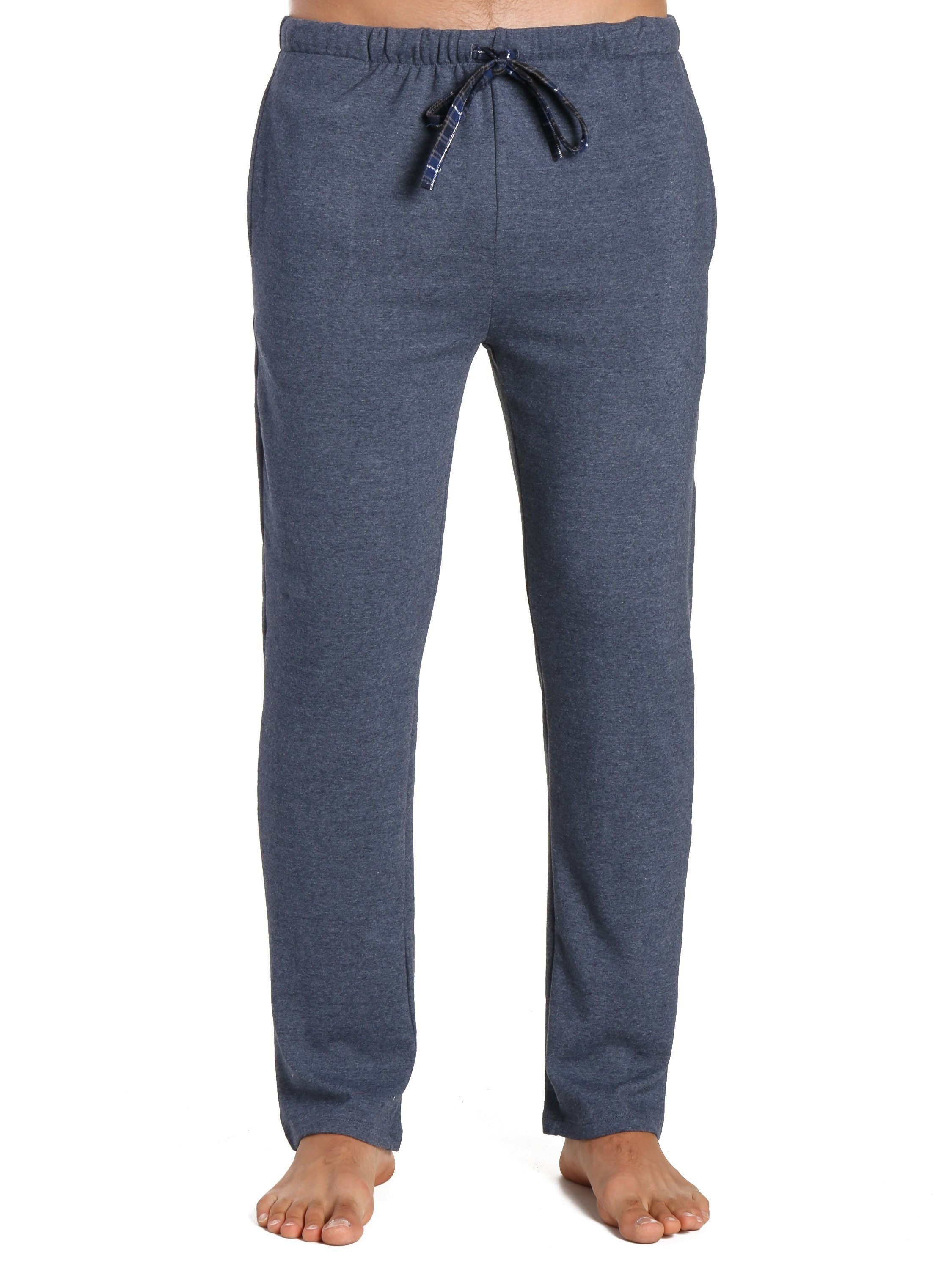 Men's Soft Brushed Rib Slim Fit Lounge Pant - Heathered Navy