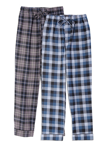 Mens 100% Cotton Flannel Lounge Pants (Relaxed Fit) 2-Pack