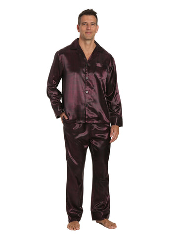 d80815dae2 Men s Premium Satin Pajama Sleepwear Set - Free Checks - Black Fig
