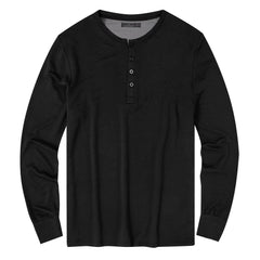 Men's Jersey Knit French Terry Long Sleeve Henley Top