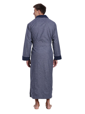 Men's Premium 100% Cotton Flannel Fleece Lined Robe