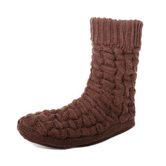 Men's Thick Basket Weave No-Skid Slipper Socks