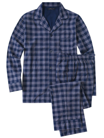 Mens Cotton Woven Double Layer Soft Pajama Sleepwear Set