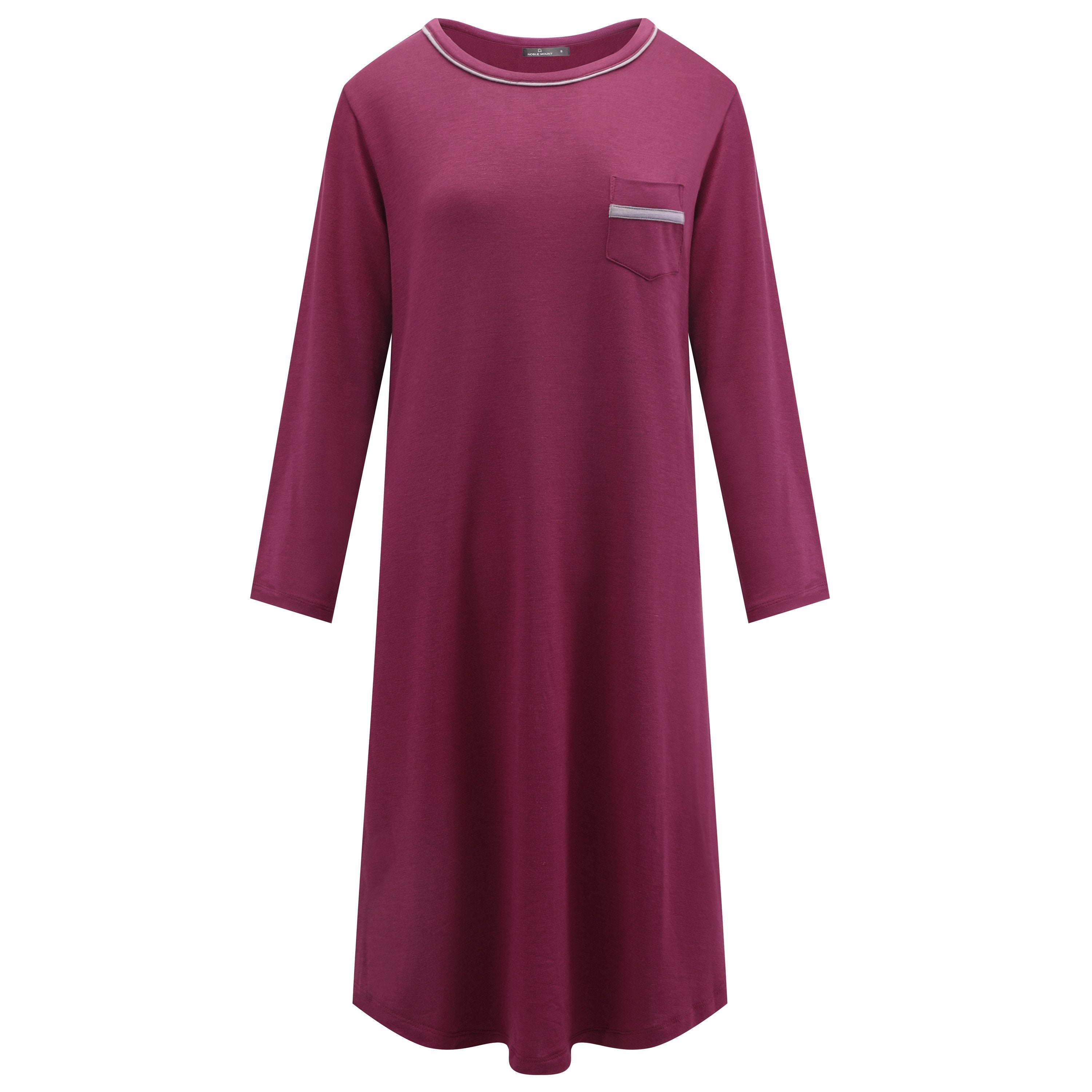 Women's Jersey Knit French Terry Sleep Dress (3/4 Sleeve)