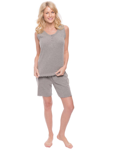 Women's Cozy Rib Shorts and Tank Top Lounge Set