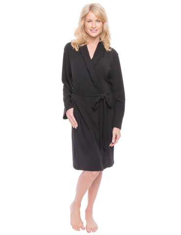 Women's Cozy Rib Knit Jersey Knee-Length Soft Robe