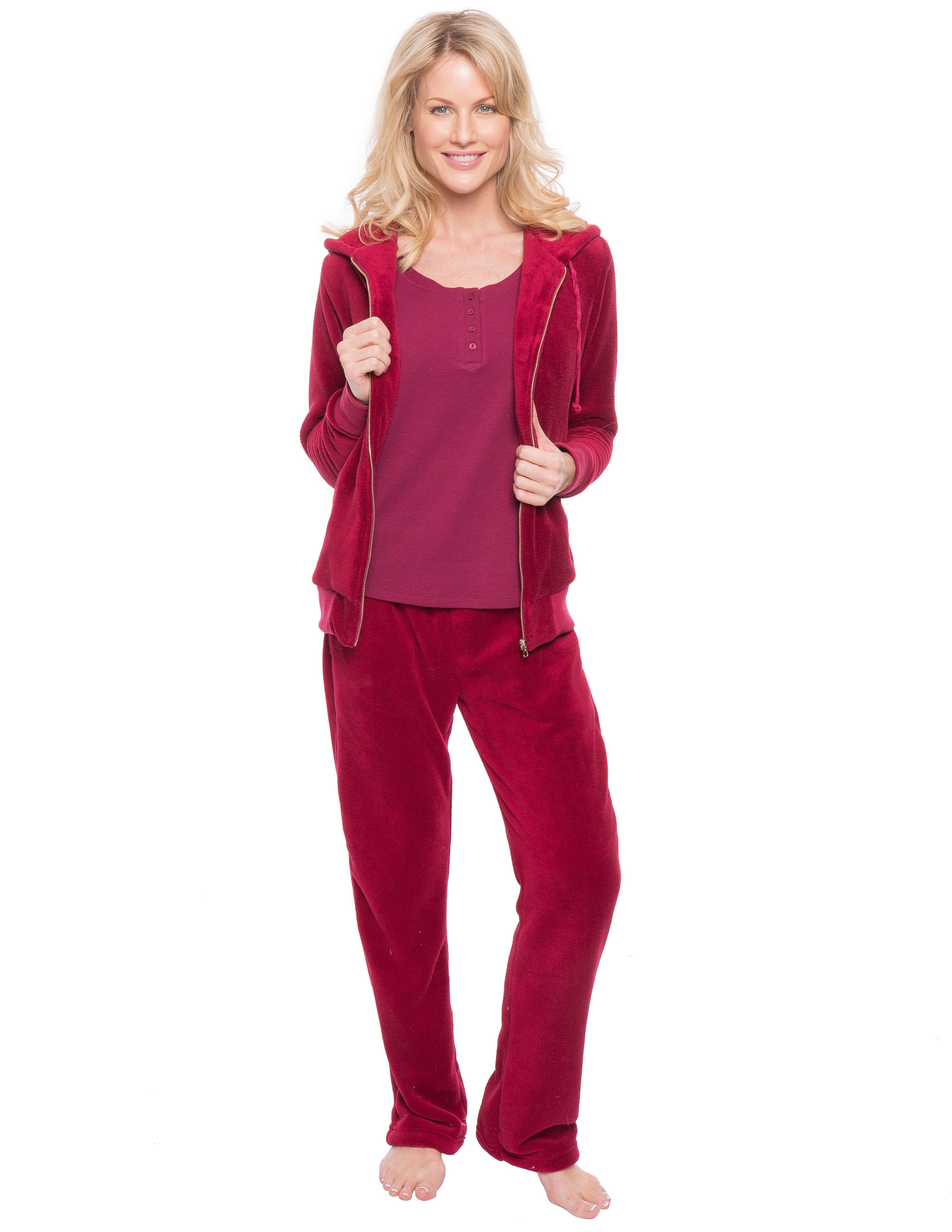 Women's Premium Coral Fleece Plush 3 Piece Lounge Set