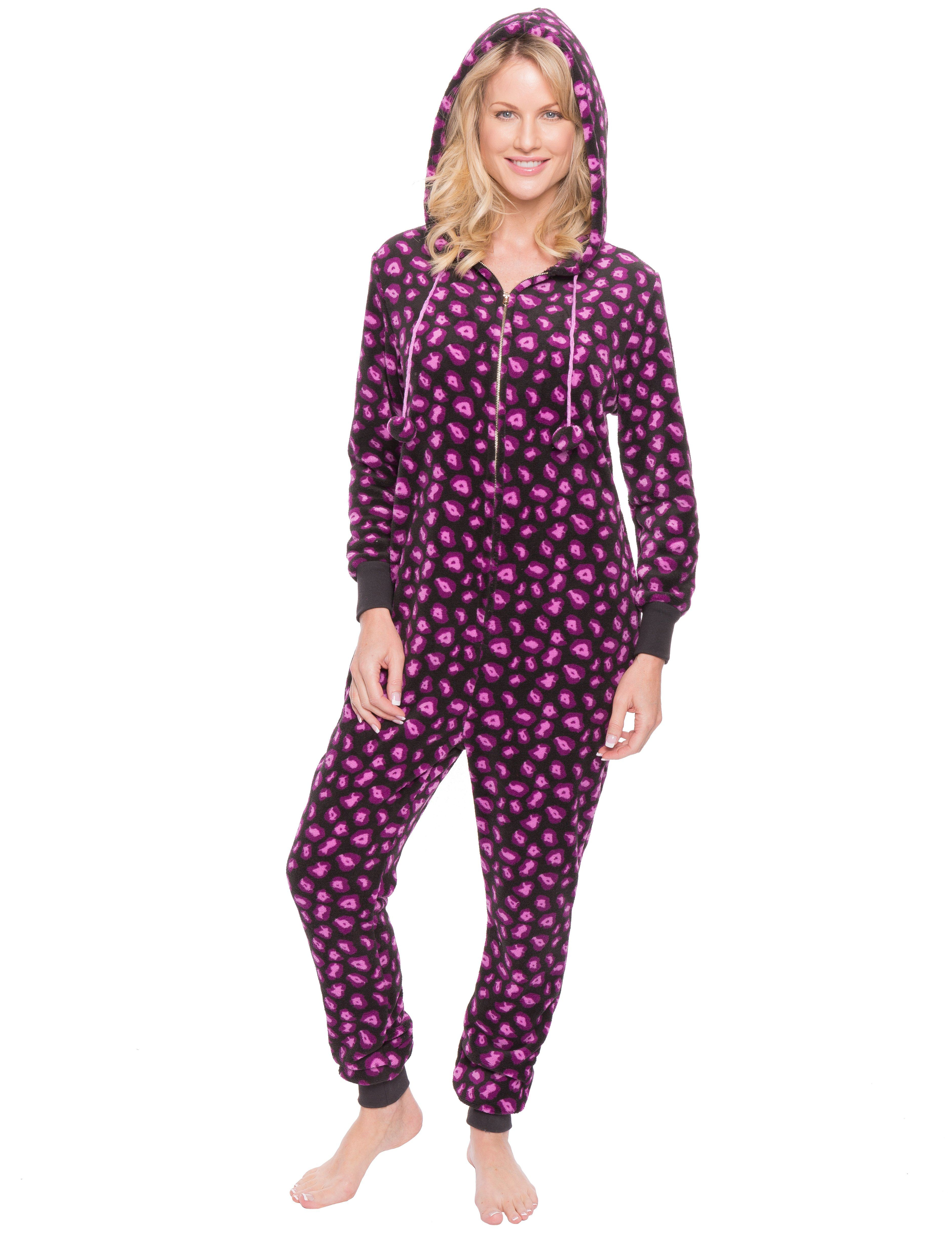 Women's Premium Coral Fleece Plush Hooded Onesie Pajama