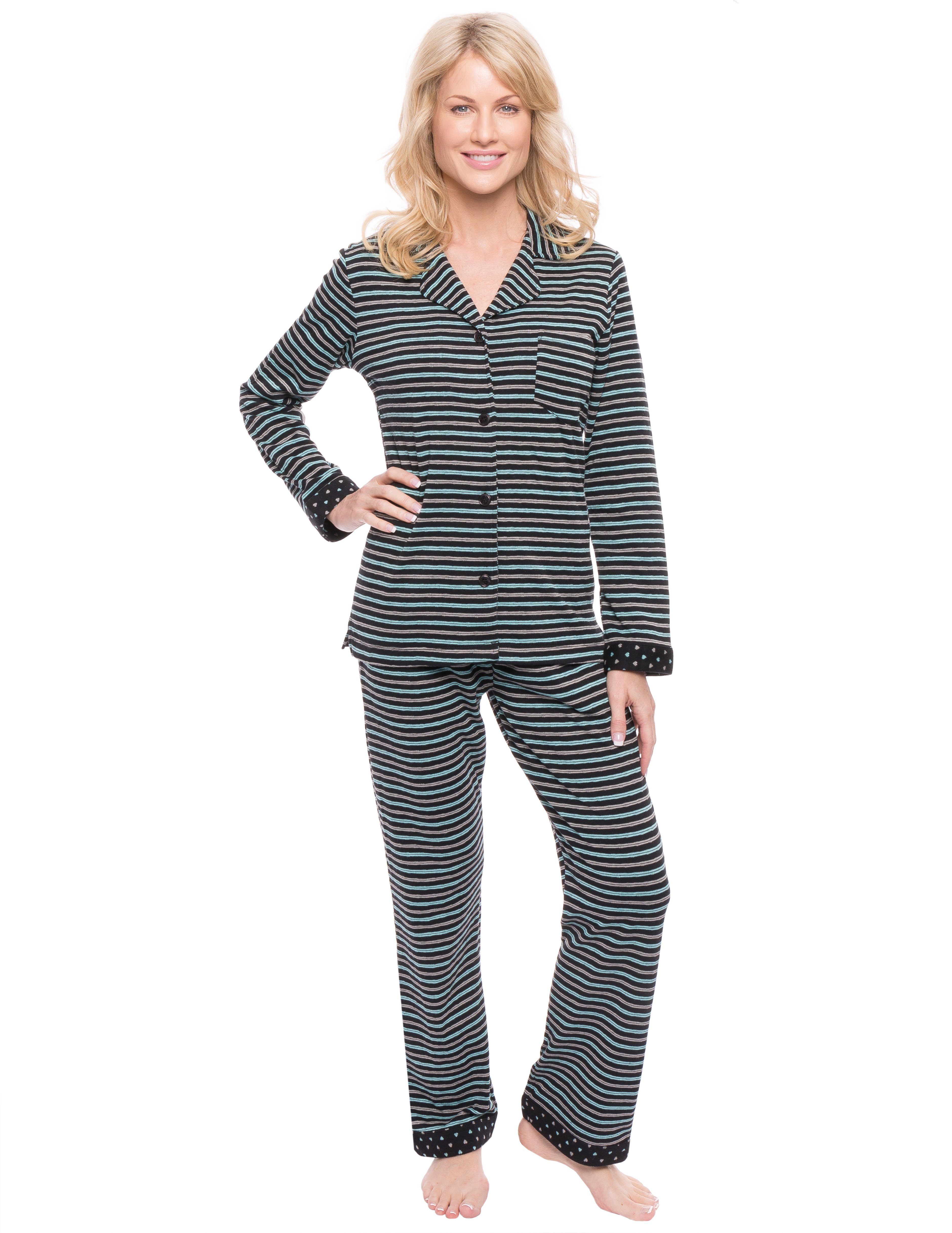 Women's Double Layer Knit Jersey Pajama Sleepwear Set