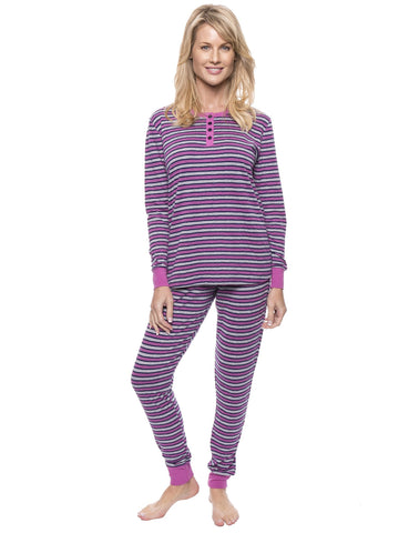 Women's Double Layer Knit Jersey Fitted Sleep Set