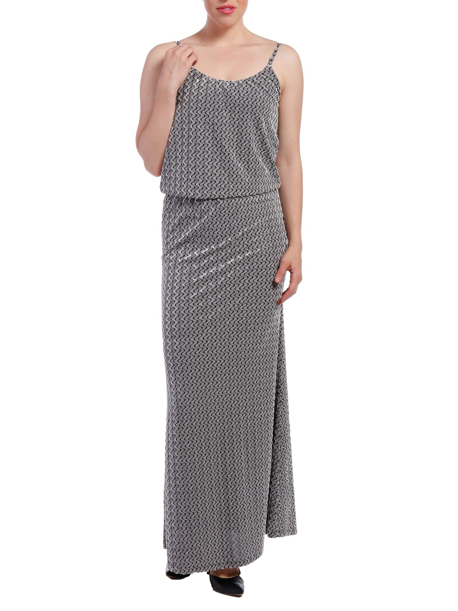 Women's Velvet Burnout Blouson Maxi Dress