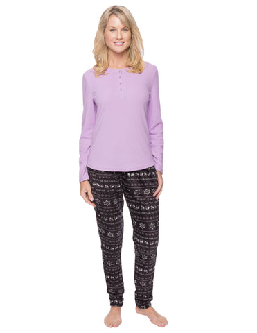 Womens Microfleece Lounge Set With Tapered Pants