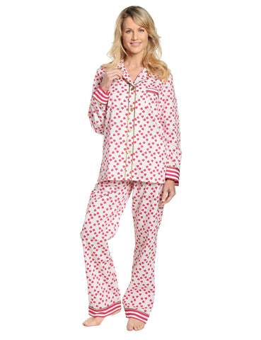 Womens Premium 100% Cotton Poplin Pajama Set with Contrast Cuffs