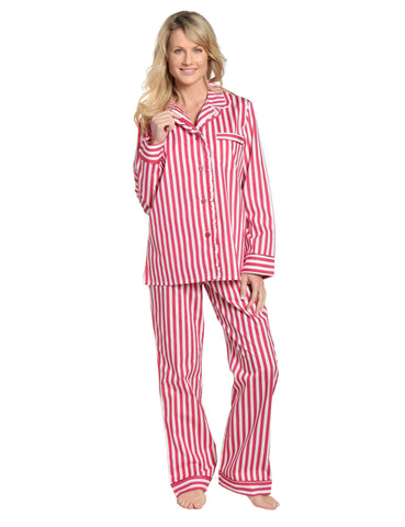 Womens Premium 100% Cotton Poplin Pajama Set with Ruffles