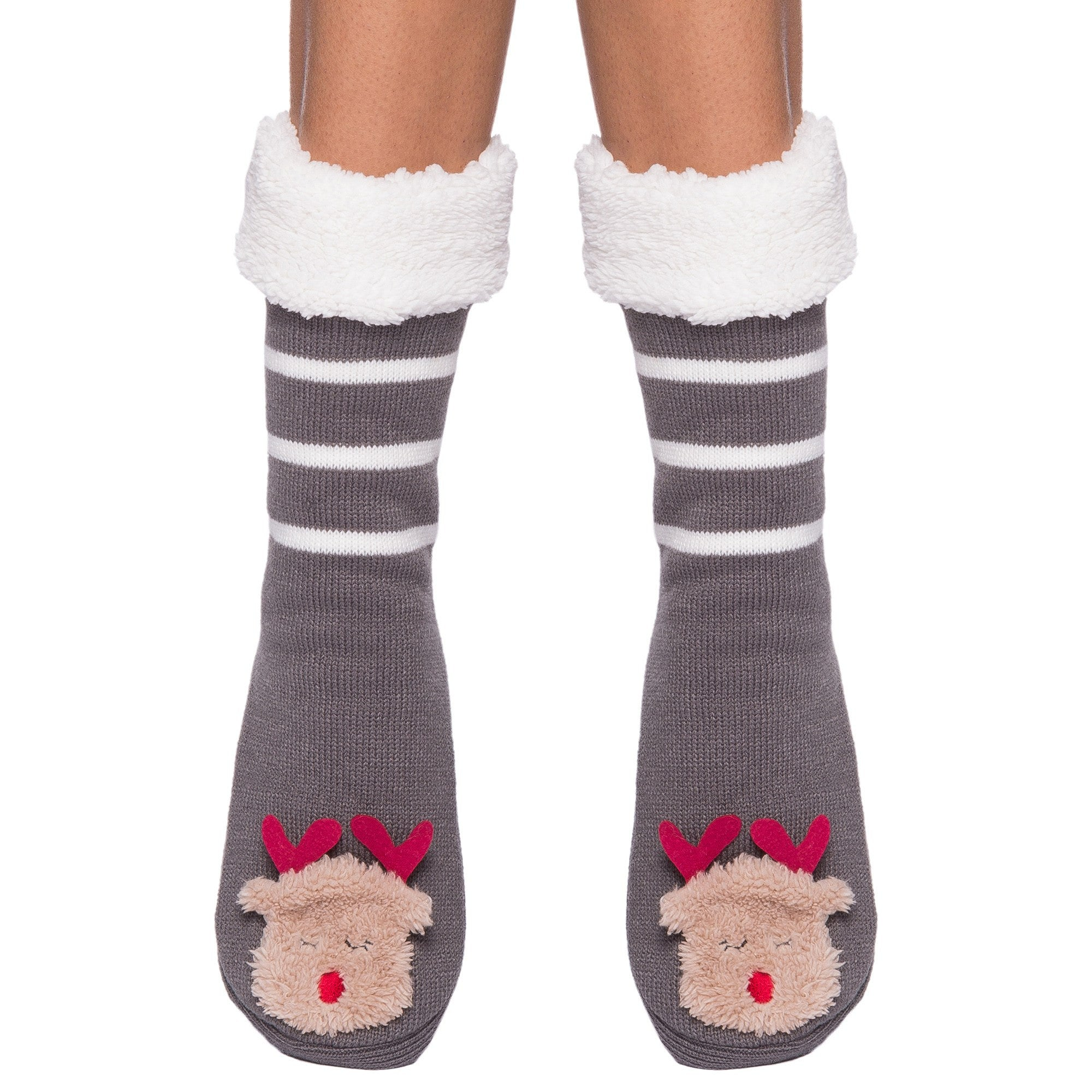 Women's Cute Knit Animal Face Slipper Socks