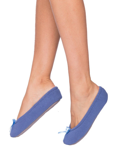 Women's Premium Brushed Rib Ballet Slipper with Bow Detail