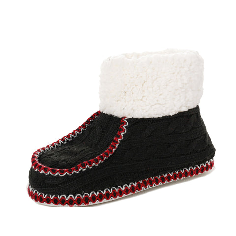 Women's Cable Knit Boot Moccasin Slipper