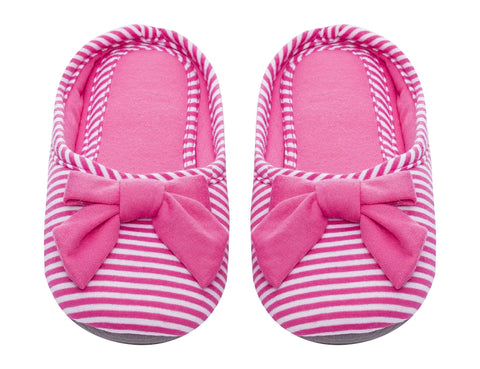 Women's Slip On Striped Slipper with Accent Bow