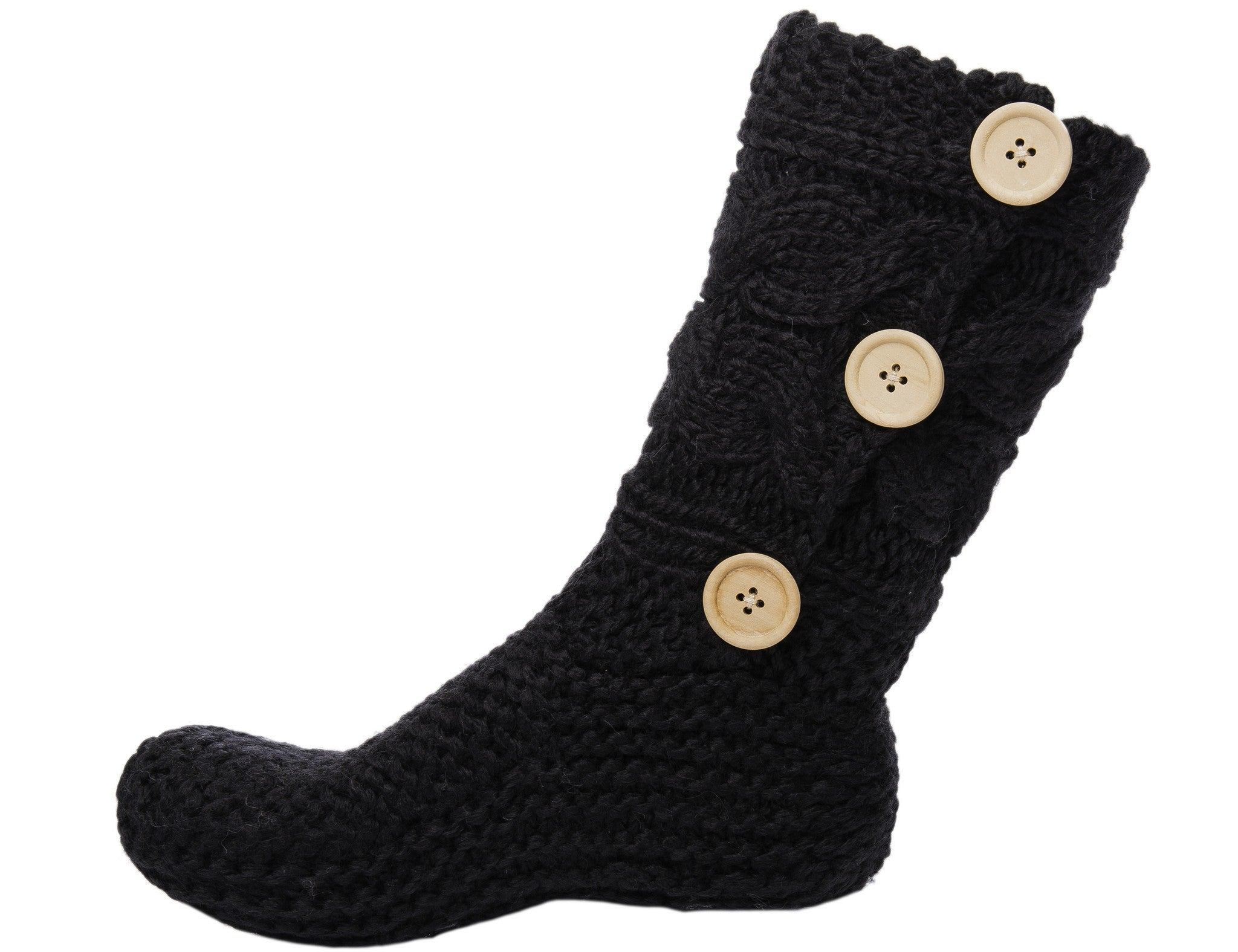 Women's Thick Knit Sweater Slipper Socks with Button Accent