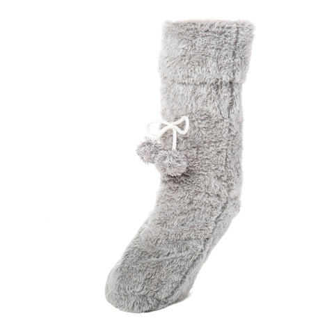 Women's Fuzzy Plush Tall Slipper Socks with Pom-Poms