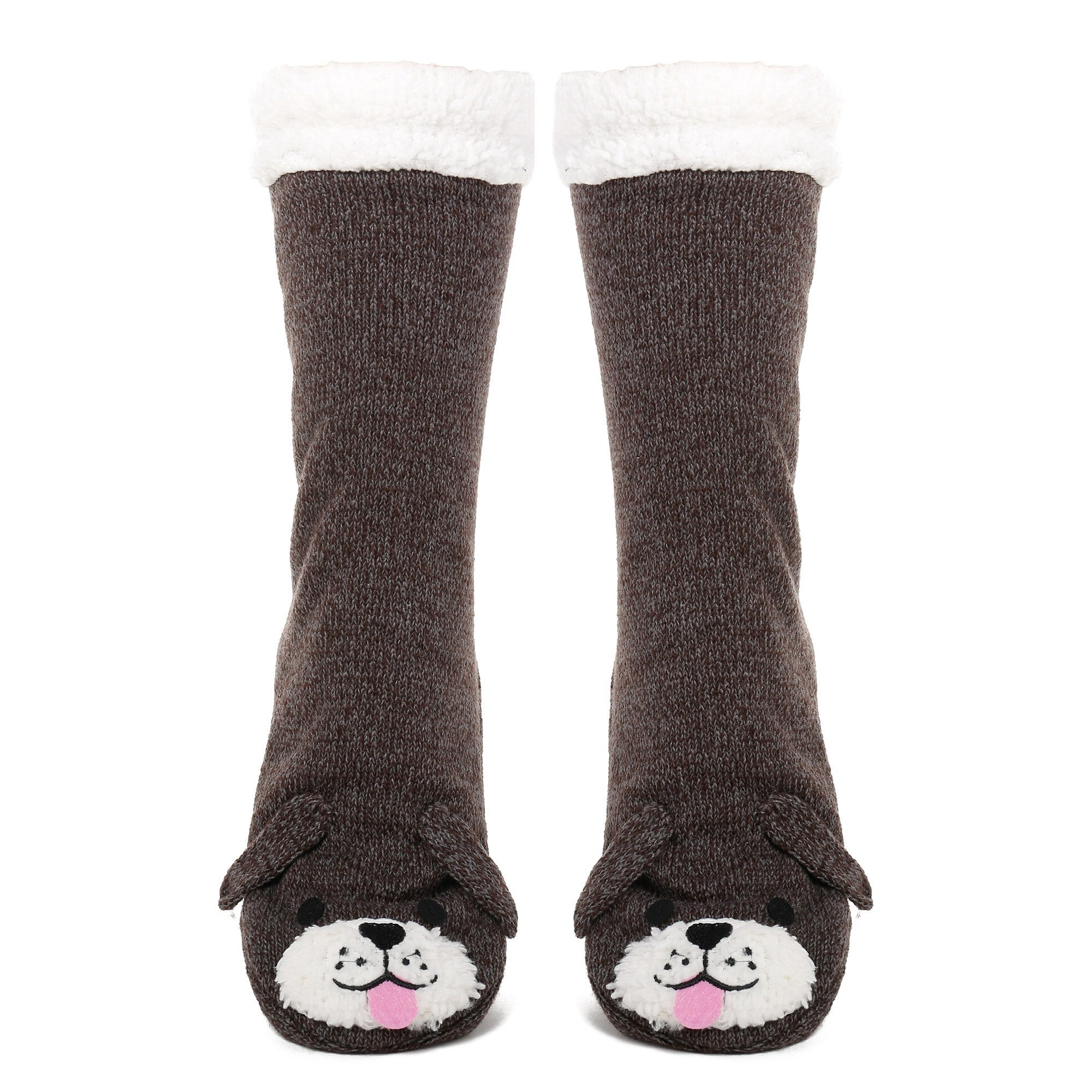 Women's Cute Knit Dog Slipper Socks