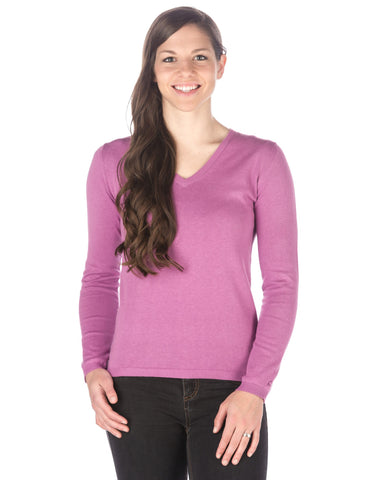 Women's 100% Cotton V-Neck Essential Sweater