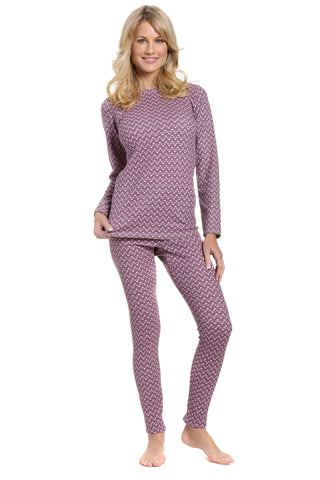 Womens Printed Extreme Cold Waffle Knit Thermal Top and Bottom Set