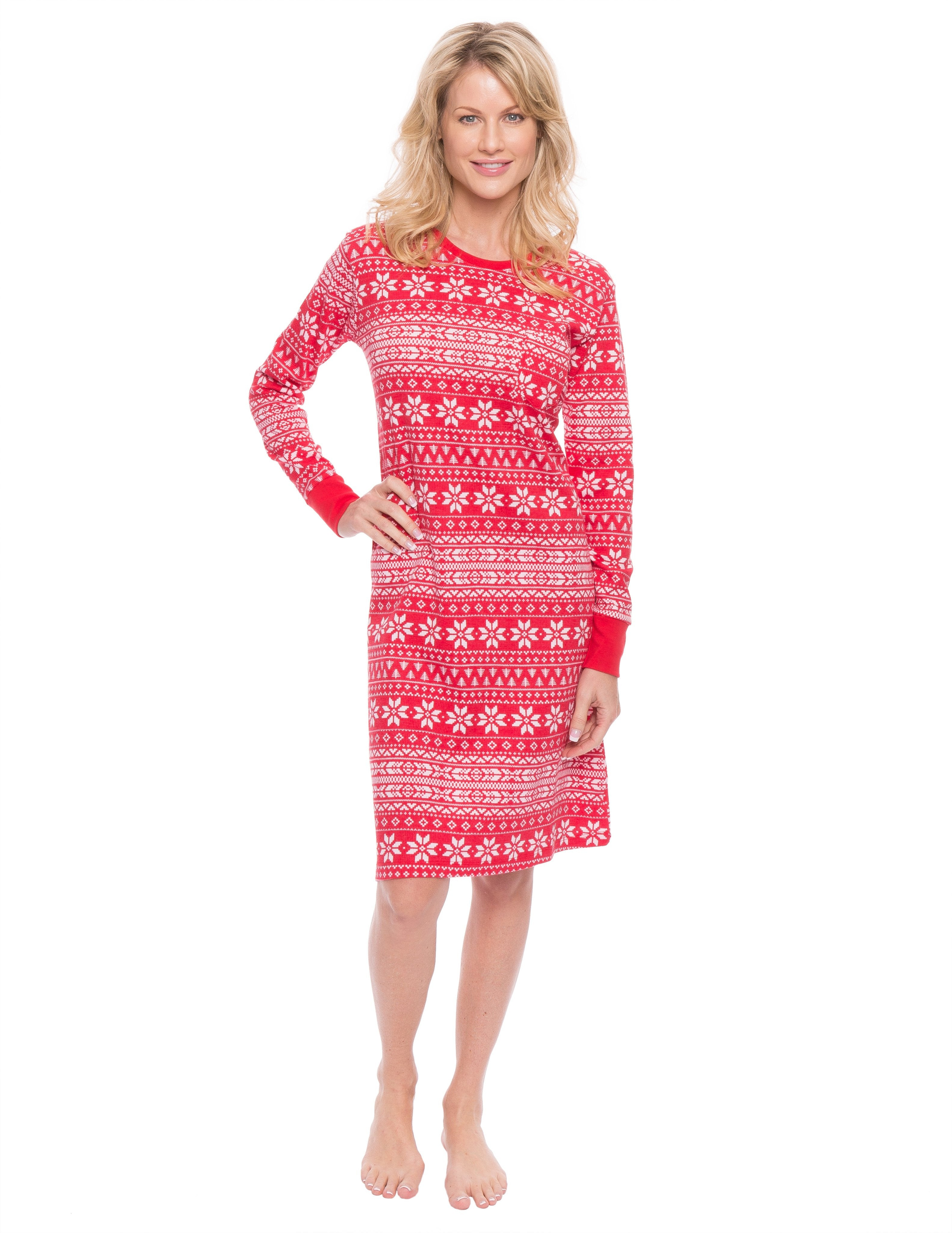 Women's Waffle Knit Thermal Sleep Dress