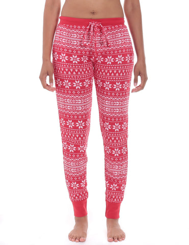 Women s Waffle Knit Thermal Jogger Lounge Pants - Fair Isle Red White b17bdfda4